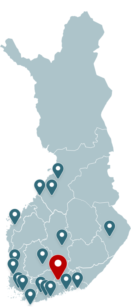 Kantamon jatkohoitoryhmien paikkakunnat kartalla
